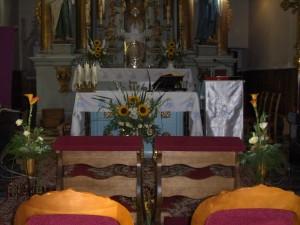 Dekoracja Kościoła - biało - pomaranczowa