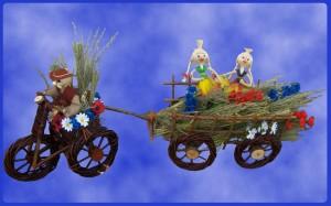 Sucha kompozycja ze zboża wóz drabiniasty
